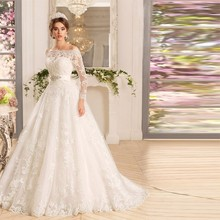 Off the Shoulder White Ivory Lace Appliqued Wedding Dresses 2016 Boat Neck Full Sleeves Beadings Bridal Gowns vestido de noiva