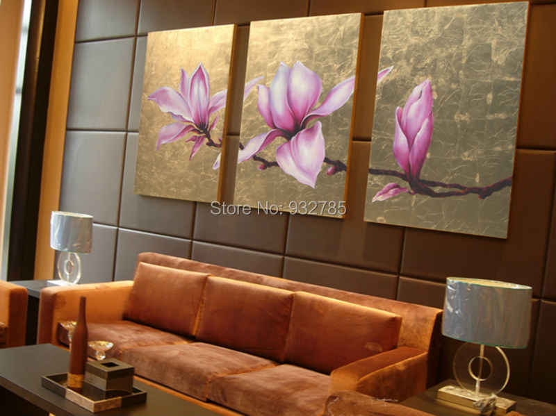 Free shipping! 100% hand-painted gold leaf flower painting, Thai style home decorative painting