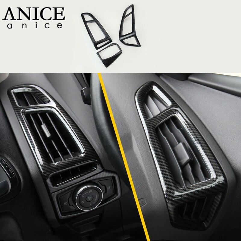 Pour Ford Focus MK3 2015-2018 fibre de carbone couleur ABS intérieur tableau de bord climatiseur ventilation garniture 3 pièces LHD côté gauche