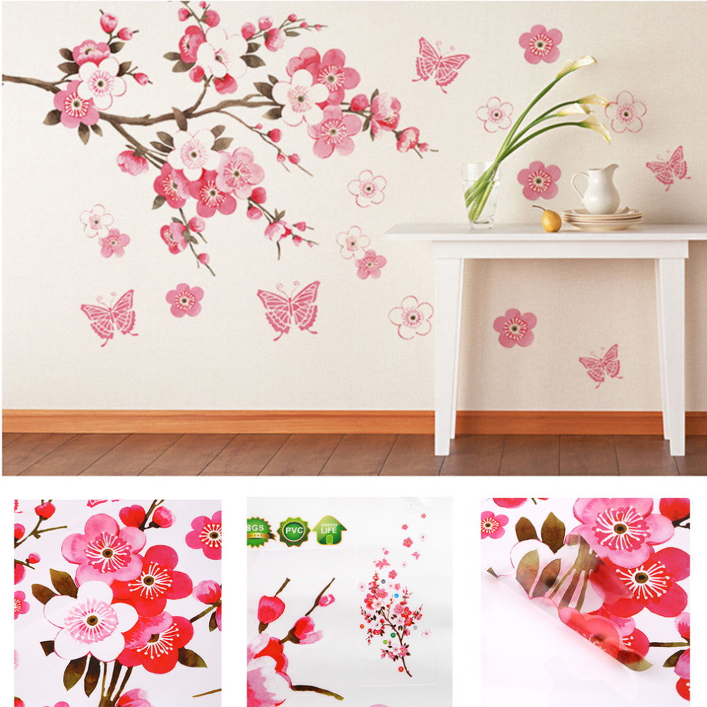 Bathroom Flower Butterfly Wall Stickers Decal Removable Peach Wall Sticker Wallpaper Quote Poster Decor Para Bedroom