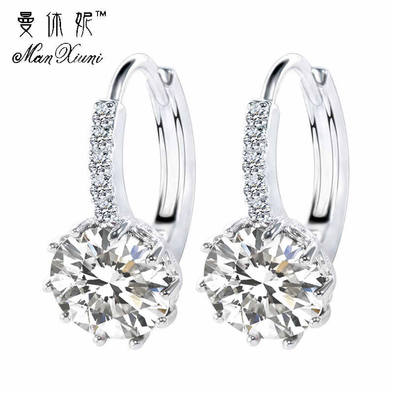 Manxiuni Fashion 14 Colors AAA CZ Element Stud Earrings For Women Wholesale pendientes mujer moda Cheap Factory Price