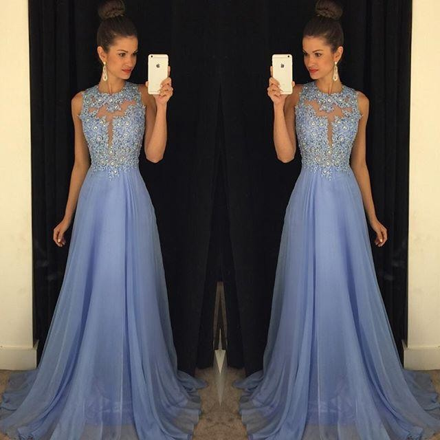 New Arrival 2016 Best Selling Royal Blue   Prom     Dress   O Neck Sleeveless A Line with Appliques Beaded Chiffon Customize Party   Dress