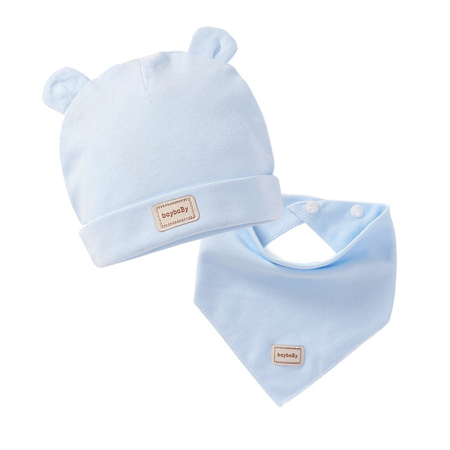 3 color eslatic headscarf double layer cotton baby caps&hats with baby bibs set pink yellow and sky blue for newborn infant 2