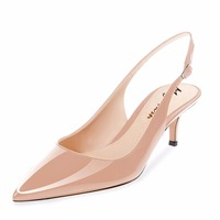 Maguidern brand Women's Patent Leather Pointed Slingback Ankle Strap Kitten Heels Pumps 6.5 cm Stiletto Heel Sandals