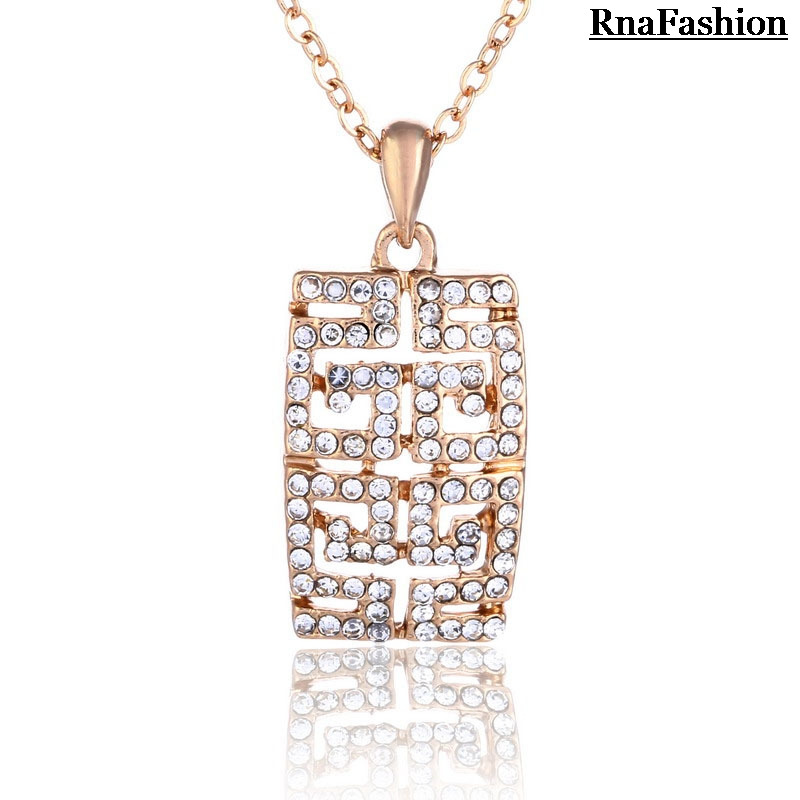 Hot Seller Jewelry geometric pendant necklace Full of rhinestone statement enamel necklaces for women