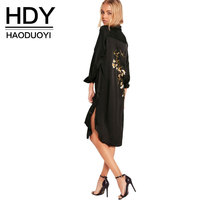 цена на HDY Women Embroidery Shirt Dress Black Casual Button Down Loose Fit Party Dress Long Sleeves Split Office Work Dresses 2019 New