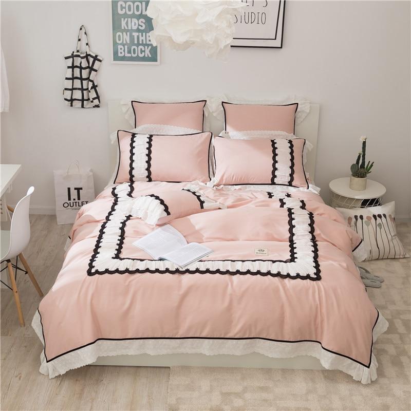 Розовый цвет принцесса для девочек Постельные принадлежности комплект Король Набор двуспальная кровать в Корейском стиле кружева простын