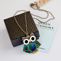 Best Fashion peacock feather owl pendant necklaces for women accessories,Vintage long sweater necklace chain for girls jewelry