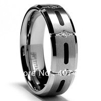 Free Shipping USA Hot Selling Unique 7MM Titanium Ring Wedding Band With Resin Inlay And 3