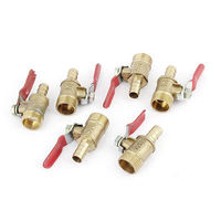 6pcs 3 8PT Male Thread To 8mm Barb Hose Connector Brass Ball Valve Gold Tone