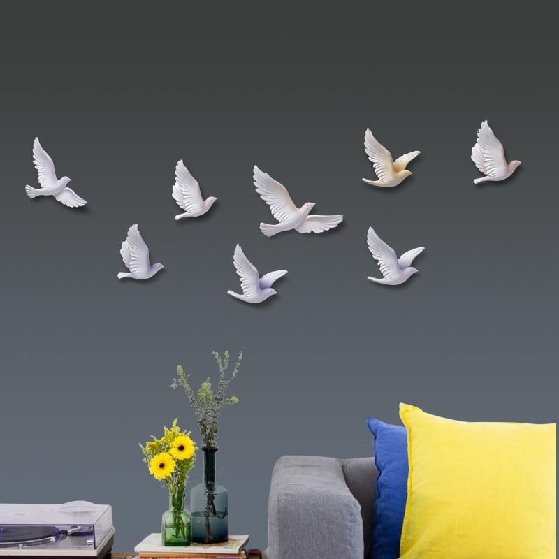 Nordic Wand dekorationen wohnzimmer harz vogel kreative wandmalereien tier miniatur figur 3D Aufkleber TV hintergrund in wand ornament - 3