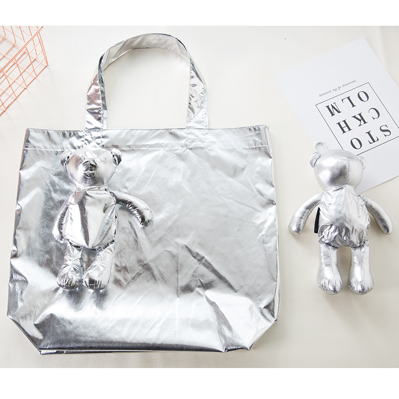 ECO Silver Coated Bear Cotton Filling Waterproof Tote Reusable Grocery Pouch Shopping Bag