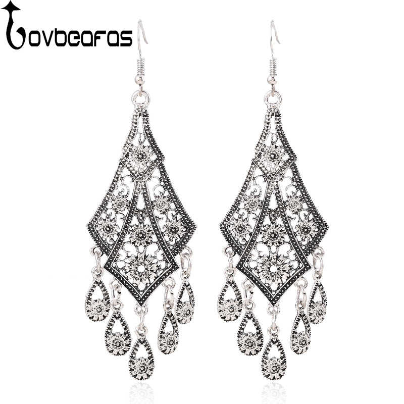 LOVBEAFAS Fashion Bohemian Long Earrings Brincos Statement Vintage Ethnic Drop Tassel Flower Boho Earrings For Women