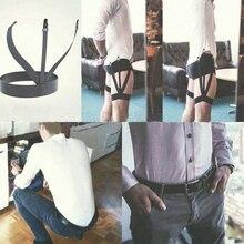 Одна пара джентльменов ноги эластичный Мужской рубашка подтяжки держатель подвязки Бизнес Мужская Рубашка Остается Подвязки подтяжки для рубашки