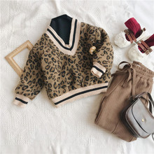 2018 Winter New Arrival Korean Version cotton V collar fake Two Leopard printed plushed and thickened hoodie for fashion girls