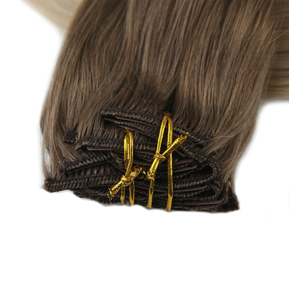 Full Shine Natural Hair Clip Ins 10Pcs Clip in Balayage Hair Extensions Human Hair Double Weft Hair Extensions Color 8 And 60 in Clip in Full Head from Hair Extensions Wigs