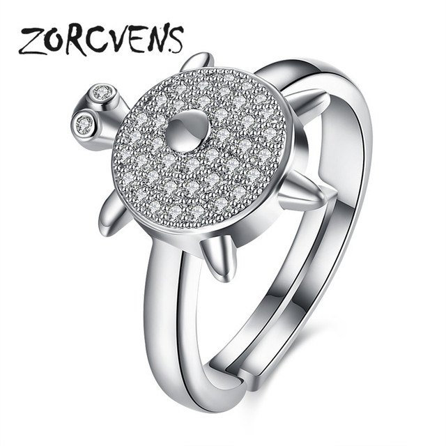 Zorcvens Unique Female Cubic Zircon Ring Fashion Turtle Animal Jewelry Vintage Wedding Rings For Women