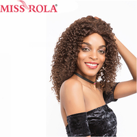Miss Rola Hair Pre colored Brazilian 100% Human Hair Afro Kinky Curly #2/4Color Average Size Non Remy 16 Inch Long Hair Wigs