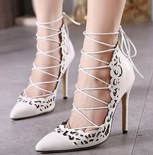 Size 4~9 Summer Sexy Summer Women Shoes Cross Lace Up High Heels Shoes Women Pumps zapatos mujer (Check Foot Length)