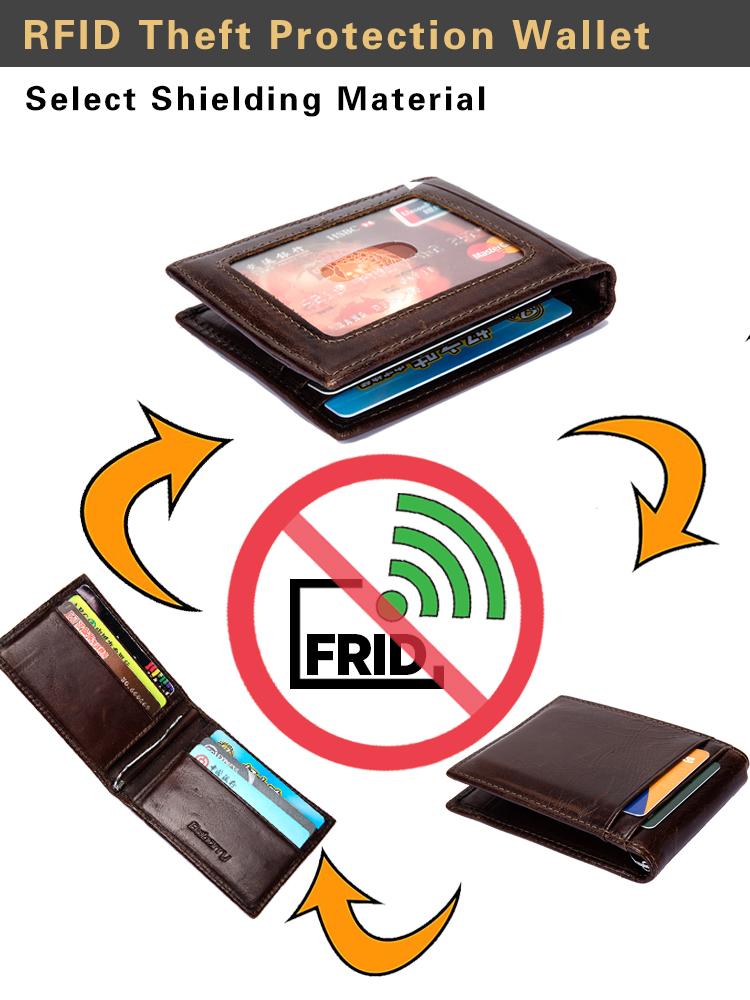 Portefeuille Anti-RFID à 3 Volets pour Homme en Cuir de Vachette