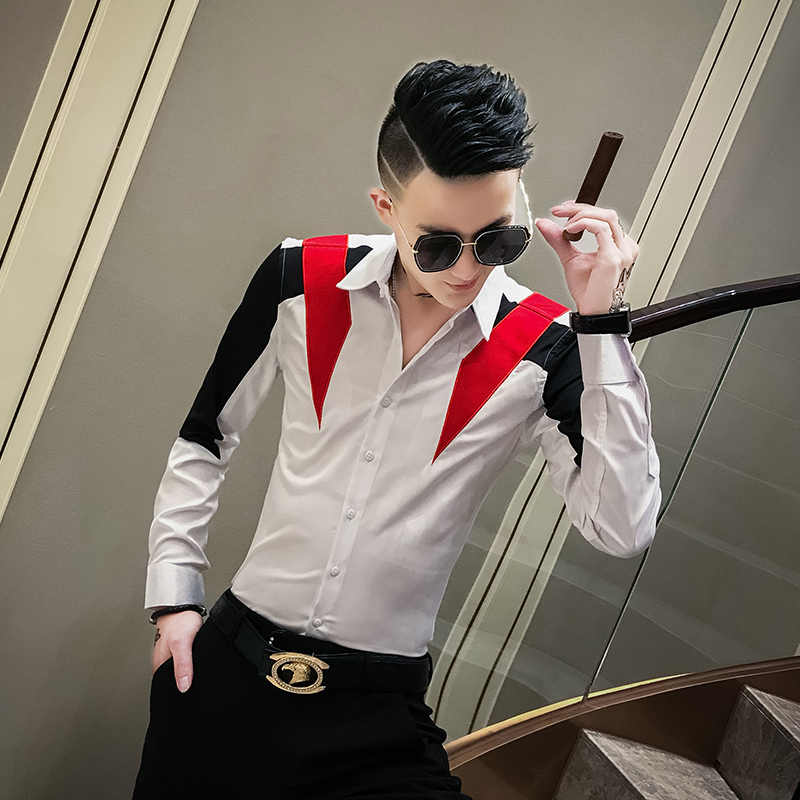 Fashion 2019 Men Shirt Hot Sale Patchwork Color Long Sleeve Mens Casual Shirts Slim Fit All Match Casual Shirts Men Club Tuxedo