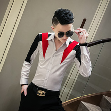 Fashion 2020 Men Shirt Hot Sale Patchwork Color Long Sleeve Mens Casual Shirts Slim Fit All Match Casual Shirts Men Club Tuxedo
