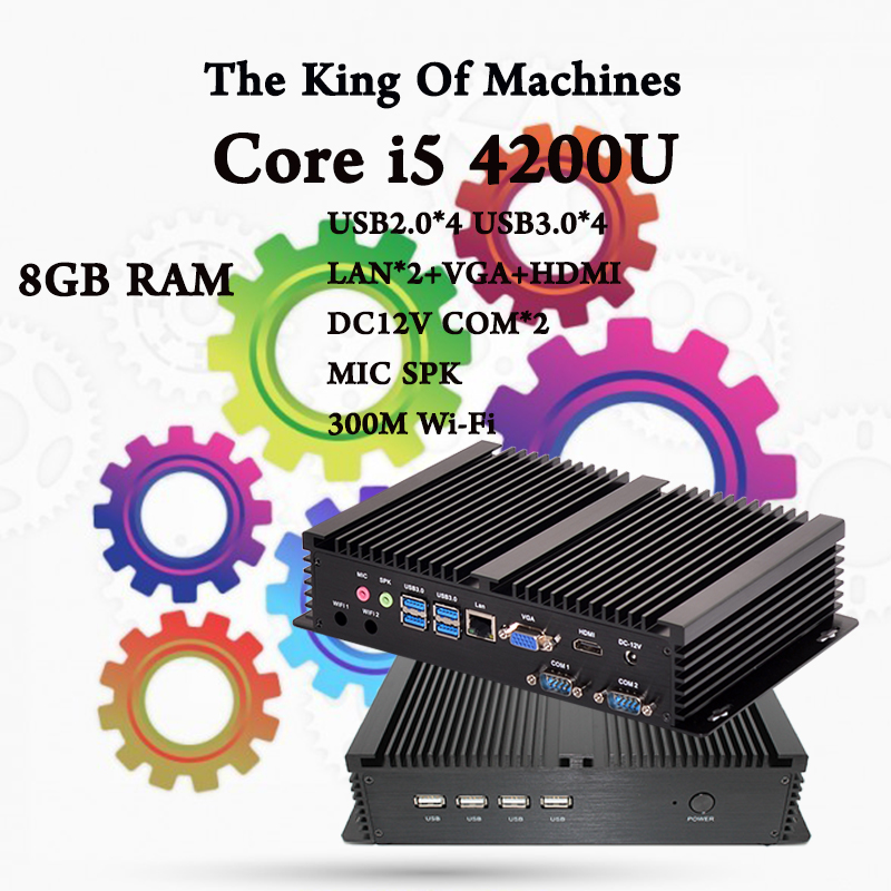 Computer industriale fanless 0 00db intel core i5 4200u 8 gb ram SATA3 MSATA3 6 Gb