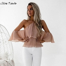 40209e45bd9 Sexy Halter Summer Blouse Shirt Womens Hanging Neck Blouse Off Shoulder  Ladies Casual Loose Shirt Tops