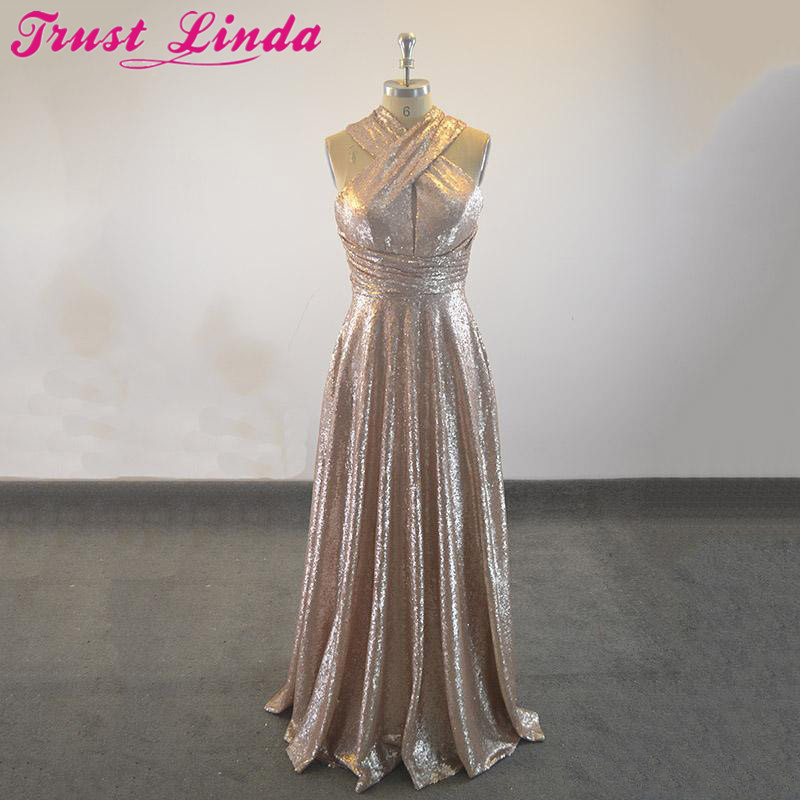 Sparkly Sequins Long   Bridesmaid     Dresses   2018 Sexy Halter Neckline Criss Cross Straps Dubai Prom Gowns Real Sample Party   Dress