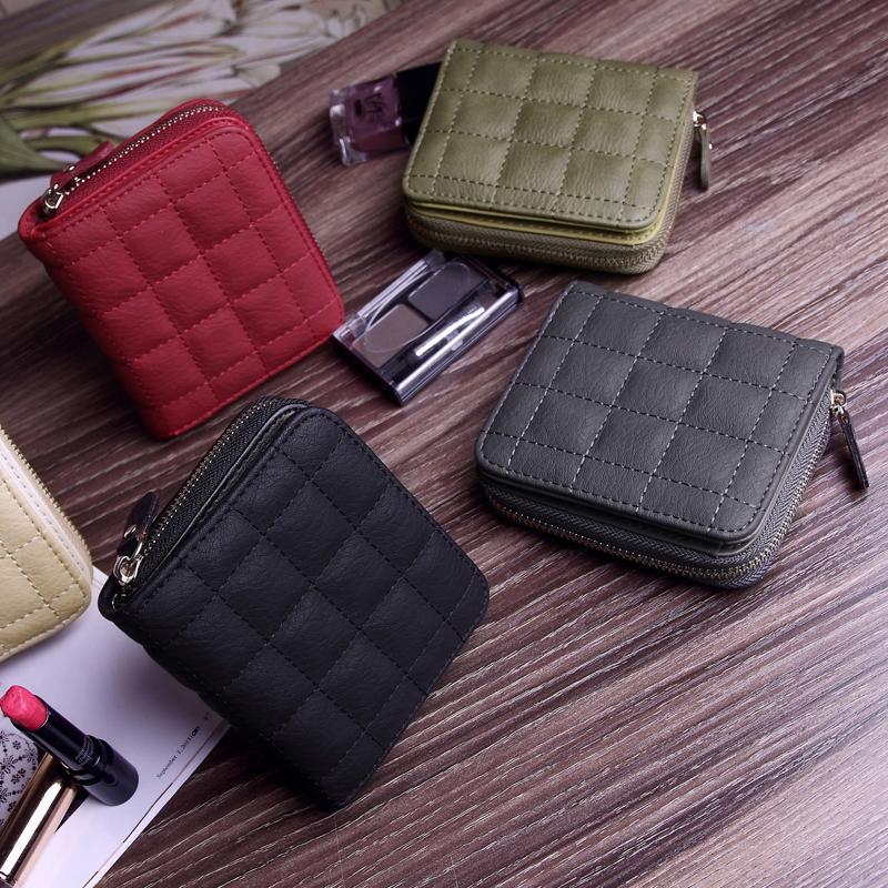 Zipper Wallet Purse Card-Holder Small Women Plaid Fashion Short with HC173 Female NEW