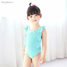 New Girls Swimsuit Striped with Frills Shoulder and Gauze Bow-knot Kids One Piece Swimwear Children Swimming wear