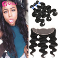 Rosa Beauty Hair Products With Closure 7A Malysian Virgin Hair With Lace Frontal Body Wave 3 Hair Bundles Baby Frontal Closure