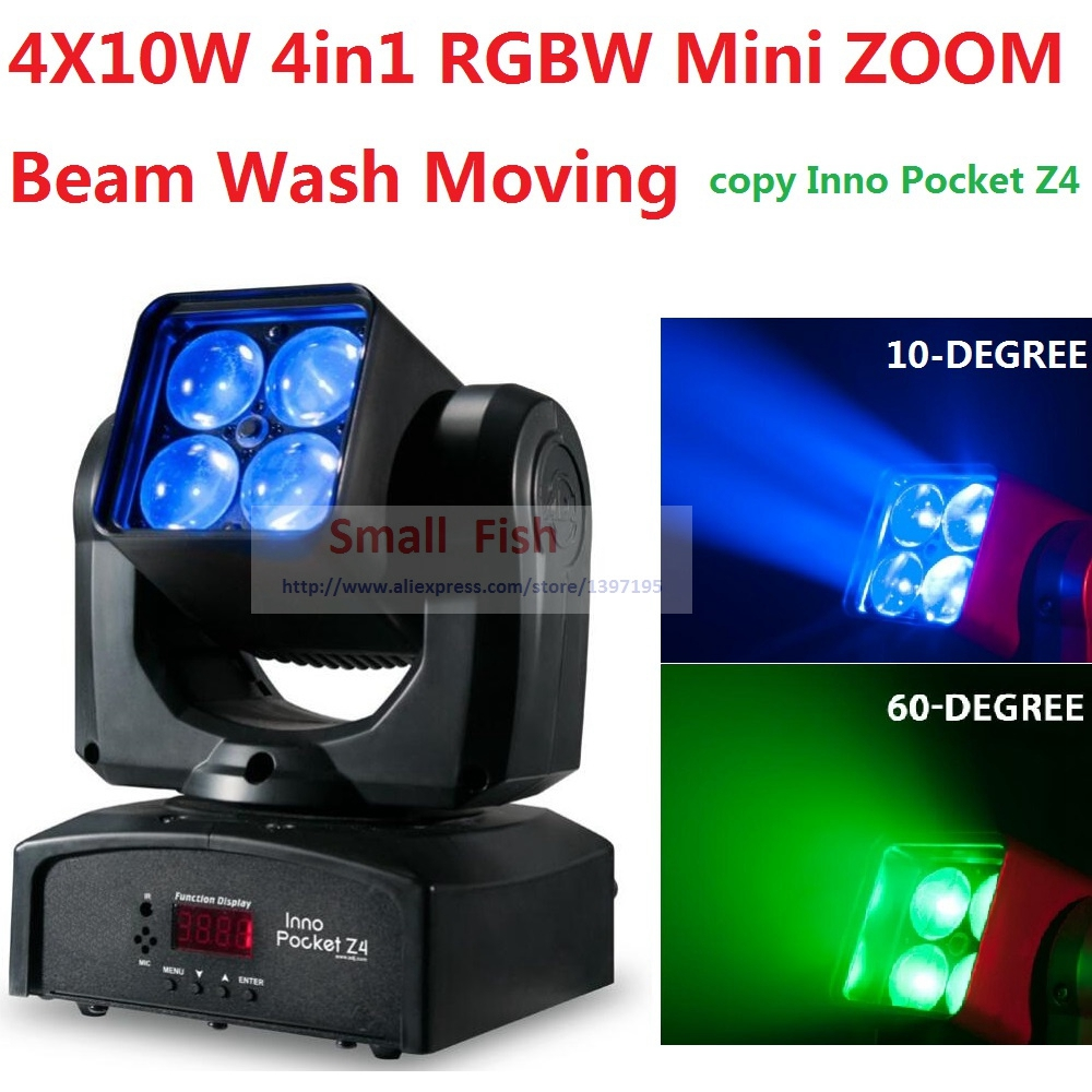 2018 ADJ Inno Pocket Mini ZOOM Moving Head Light 4x10W 4in1 RGBW 10-60 Degree Beam Wash Stage Effect Disco DMX KTV Club Lights стоимость