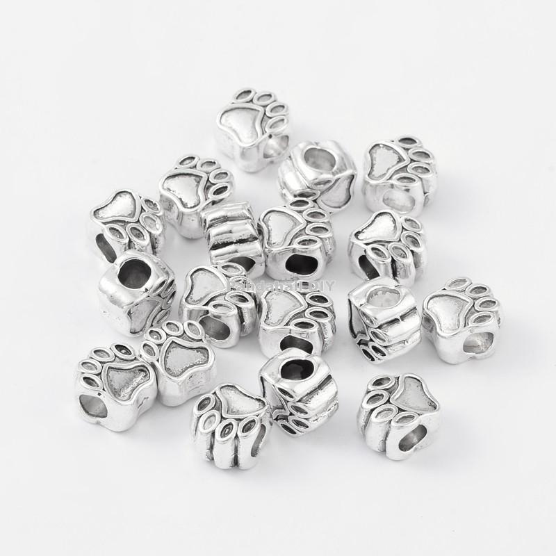 Tibetan Style European Beads Cadmium Free Lead Free Paw Print Antique Silver 11x11x8mm Hole 5mm