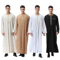 Men Thobe Solid Color Round Neck Long Sleeves Zipper Arab Muslim Wear IK88