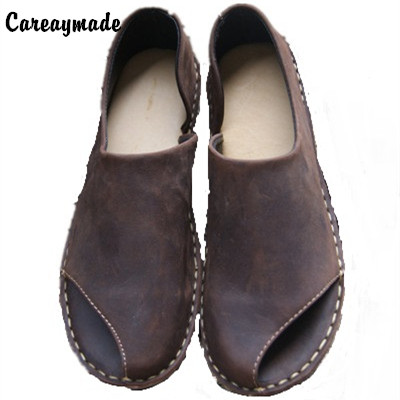 Careaymade-pure handmade All cowhide leather shoes the retro art mori girl female fish mouth sandals loafers shoes,Coffee/Khaki