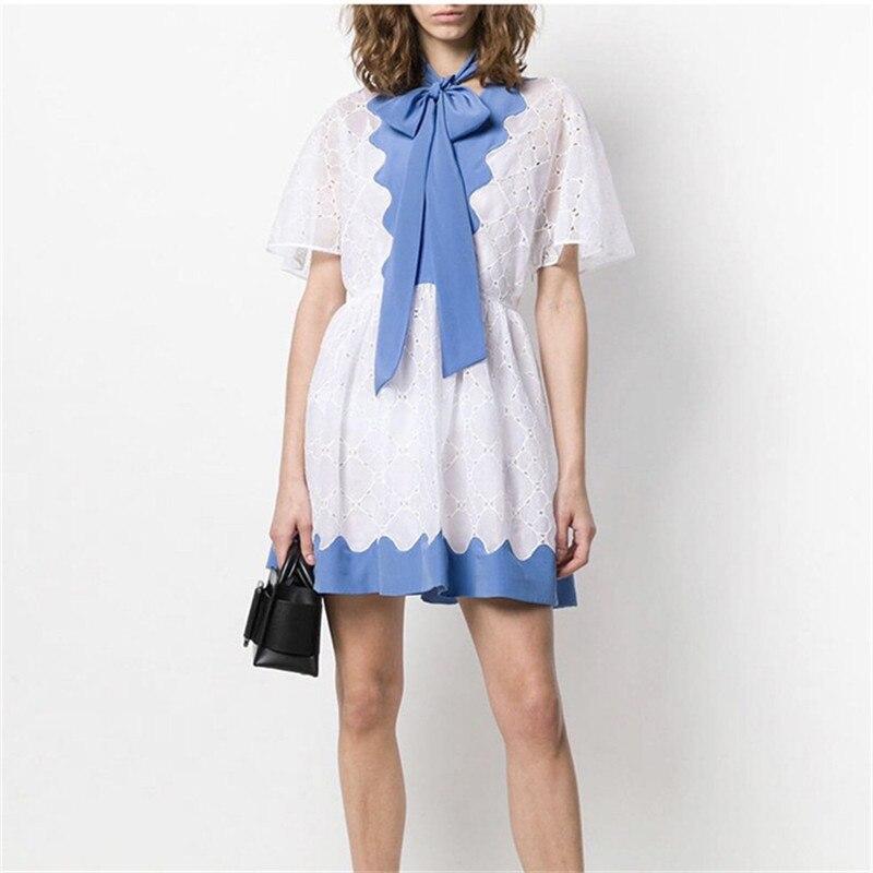 Élégant bleu arc Mini robe été 2019 femmes à manches courtes en mousseline de soie Patchwork évider dentelle robe Vestidos