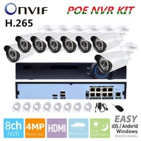 3 0MP Outdoor CCTV System 48V 8ch POE NVR 8pcs 3MP IP Camera Array Leds Night