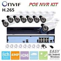 3 0MP Outdoor CCTV System 48V 8ch POE NVR 8pcs 3MP IP Camera Array Leds Night