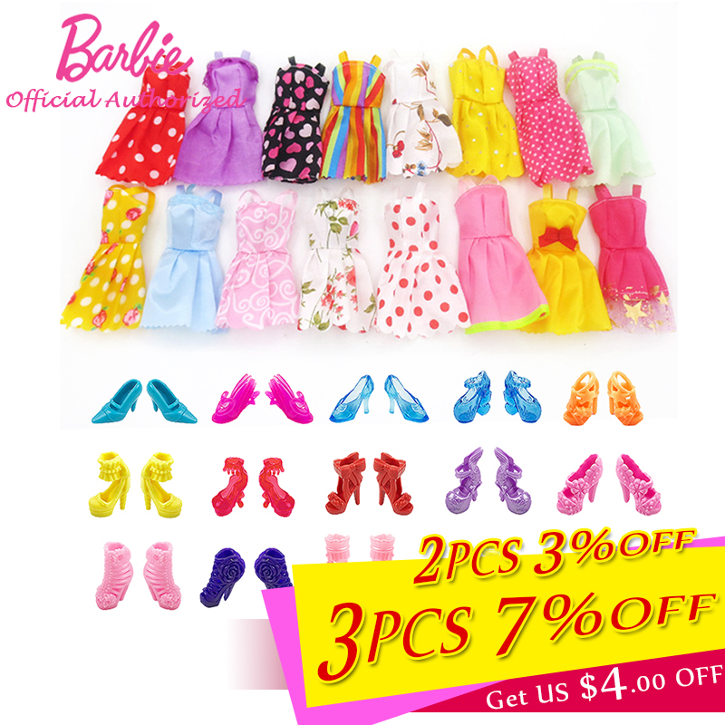 10pairs <font><b>Shoes</b></font> 5pcs Clothes For Original Barbie <font><b>Doll</b></font> Toy Accessories Fashion Skirt Beautiful High Heel <font><b>Shoes</b></font> Girl's Birthday Gift image