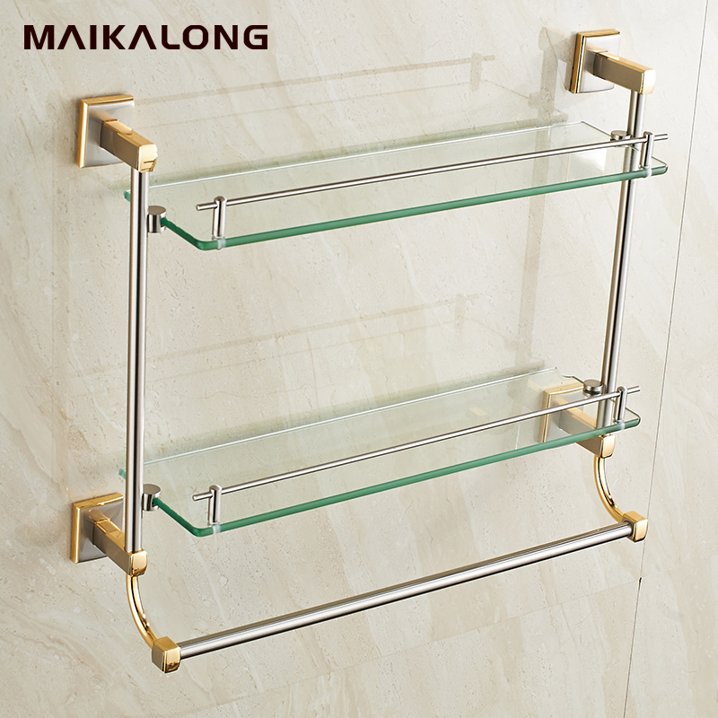 Bathroom Glass Shelf ,Wall Mount with Towel Bar and Rail,gold brush ...