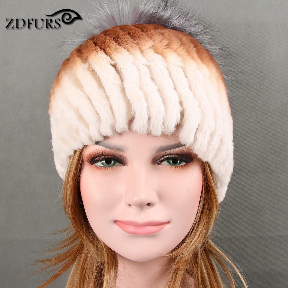 Glaforny 2017 nouveau Design Rex lapin fourrure chapeaux forme comme ananas femmes hiver chaud fourrure bonnets avec renard fourrure hauts 4 couleurs