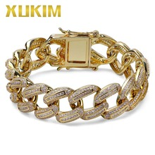 Xukim Jewelry Hip Hop Full Iced Out Micro Pave AAA Cubic Zirconia Gold color  Link Chain Mens Bracelet Bangle Jewelry Gift Party billie eilish bad guy bracelet popular young singer art picture hip hop music glass cabochon chain bangle jewelry for fans gift