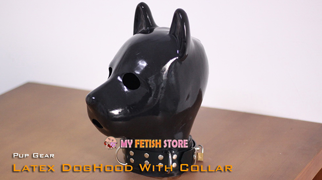 (DM506) 100% Natural 1.5mm Latex Pure Handmade Pup Gear Rubber Dog Hood With Collar Dog Mask Slave Fetish Wear