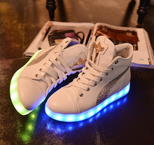 HOT! Led Shoes For women Fashion Light Up Casual Shoes For Adults 7 Colors Outdoor Glowing High Top white Light Up Shoes
