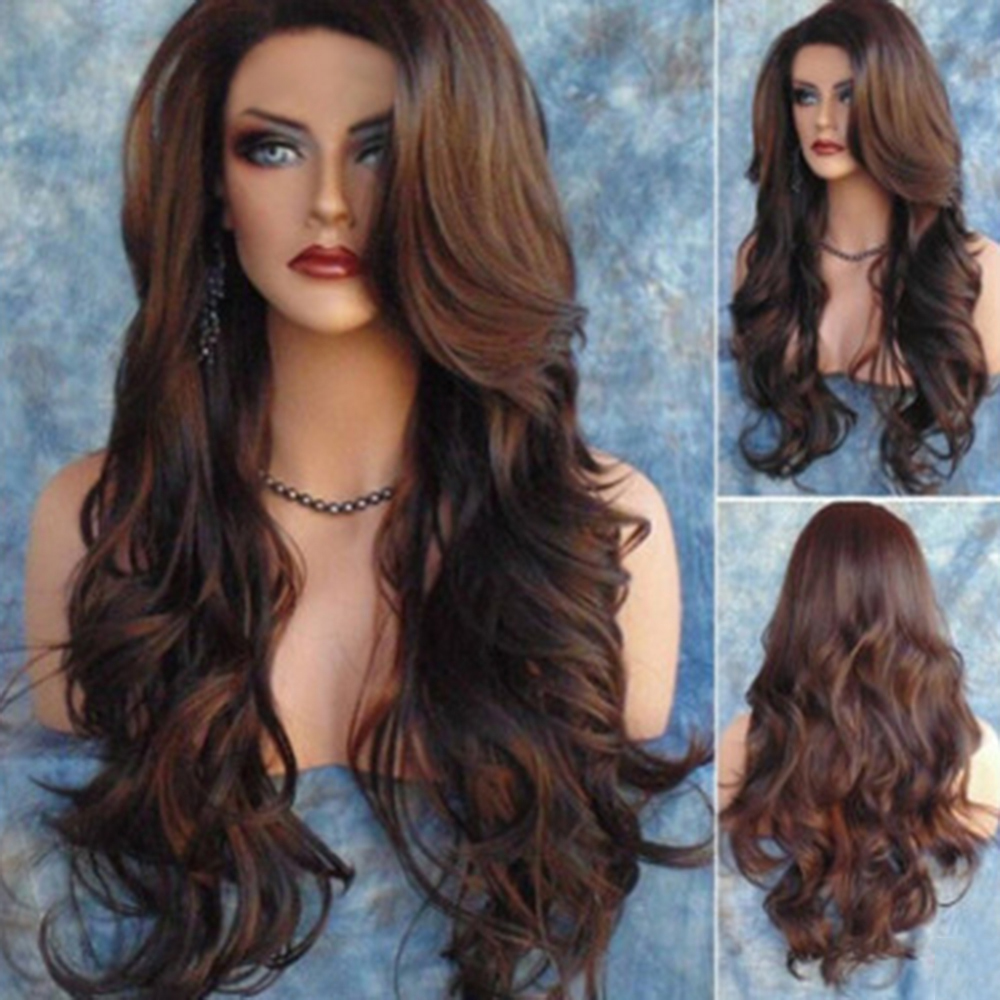 Costumes Brown Curly Wavy Human Hair Body Wave Long Front Hair Wigs Gay Masquerade Stage Hair Sexy Lady Female Cosplay Headwear
