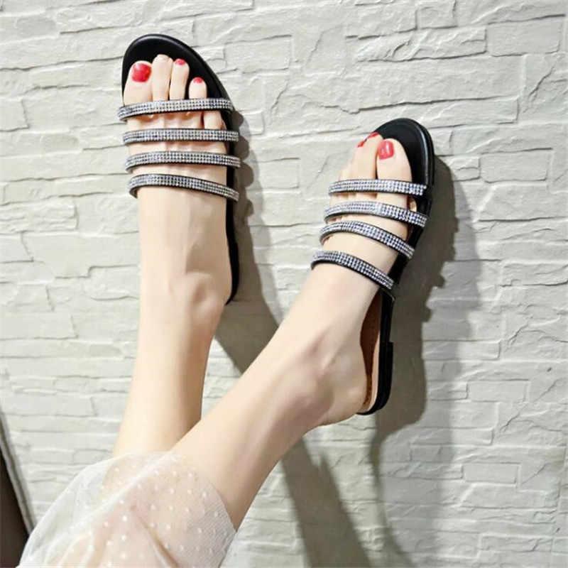 Mùa hè Giày nữ dép nữ dây đính hạt dẹt trượt thời trang nữ slieds dép xỏ ngón nam