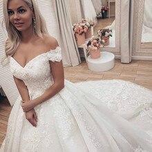Свадебное платье с открытыми плечами пышные кружевные аппликации размера плюс цвета слоновой кости с длинным шлейфом церковные лужайки Vestido De Novia платья для невесты