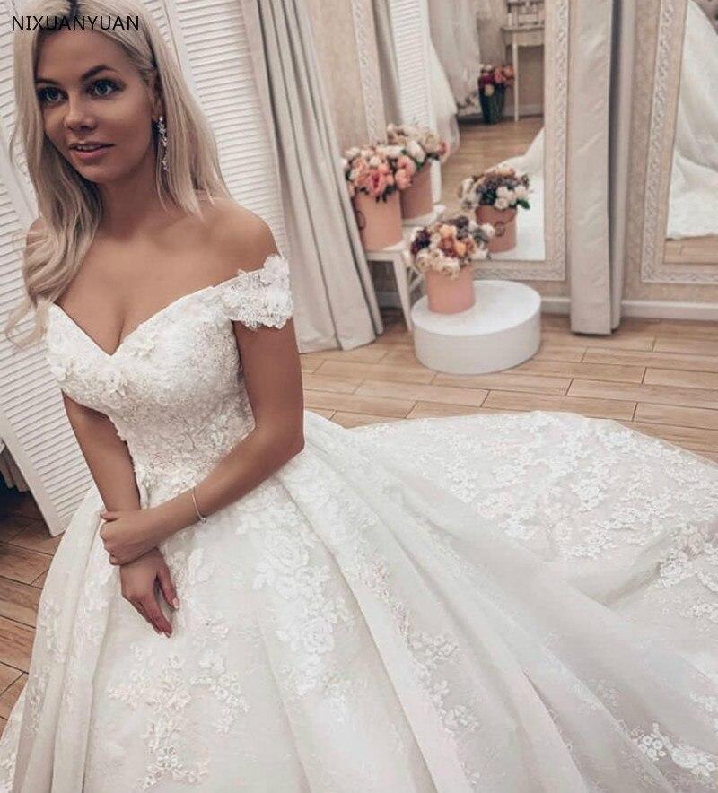 Off The Shoulder Wedding Dress 2019 Puffy Lace Appliques Plus Size Ivory Long Train Church Lawn Vestido De Novia Gowns For Bride