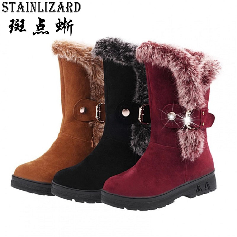 2016 autumn and winter new European and American snow boots women warm boots buckle strap female
